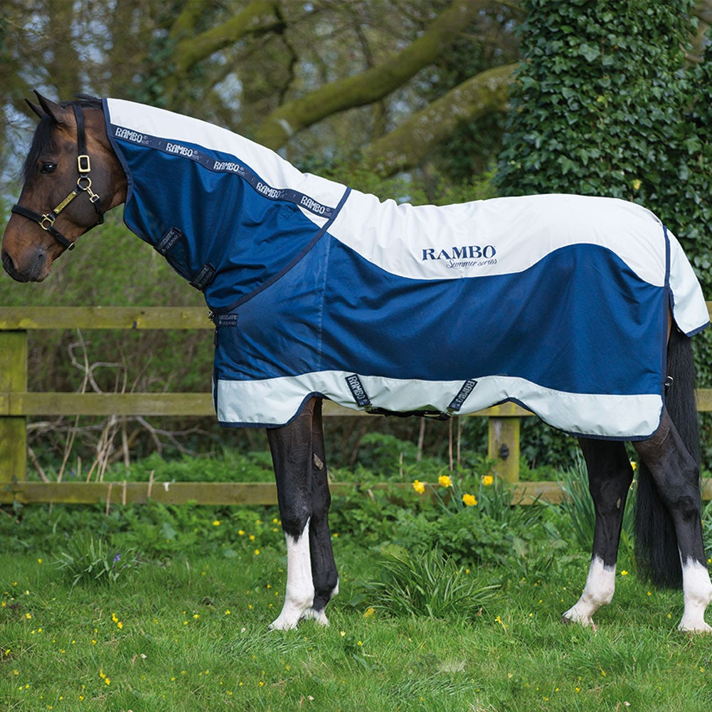 Details About Rambo Summer Series 0g Uni Horse Rug Turnout Navy Grey All Sizes