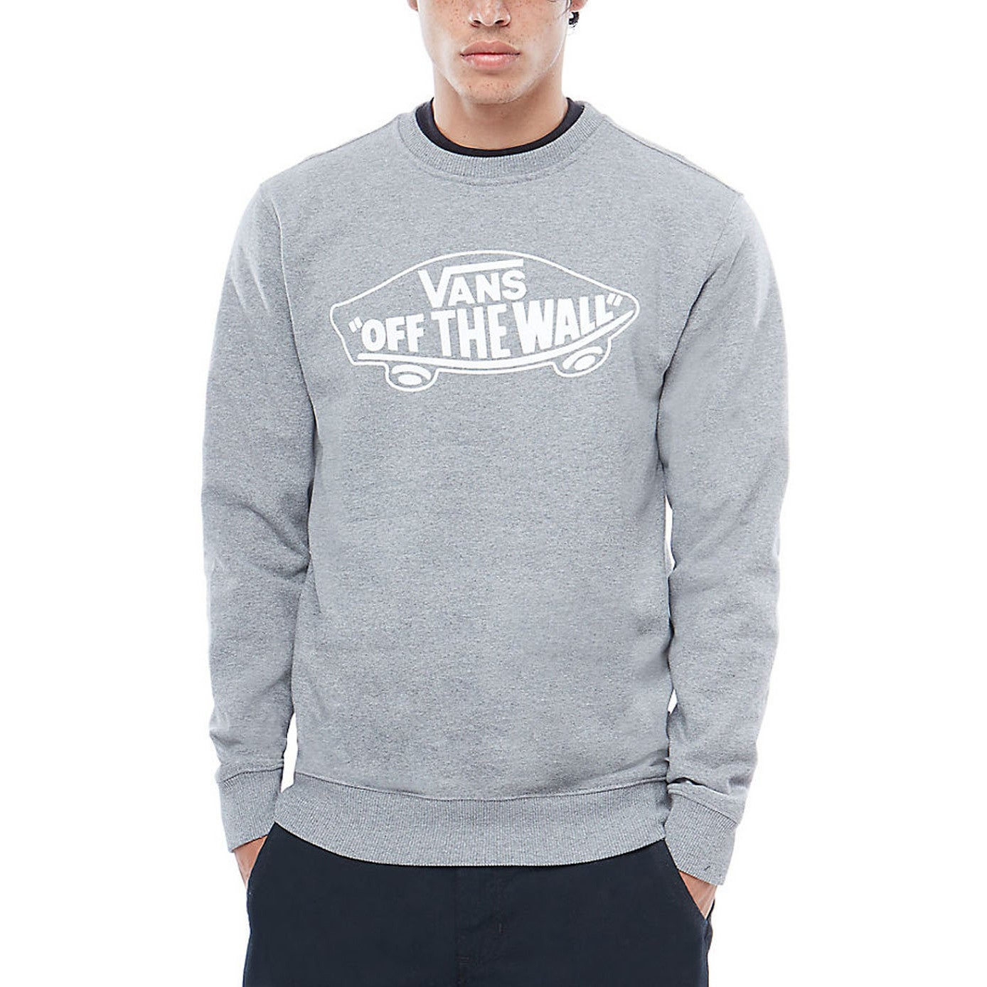Vans Off The Wall Crew  Herren Jumper - Cement Heather Weiß Outline All Größes
