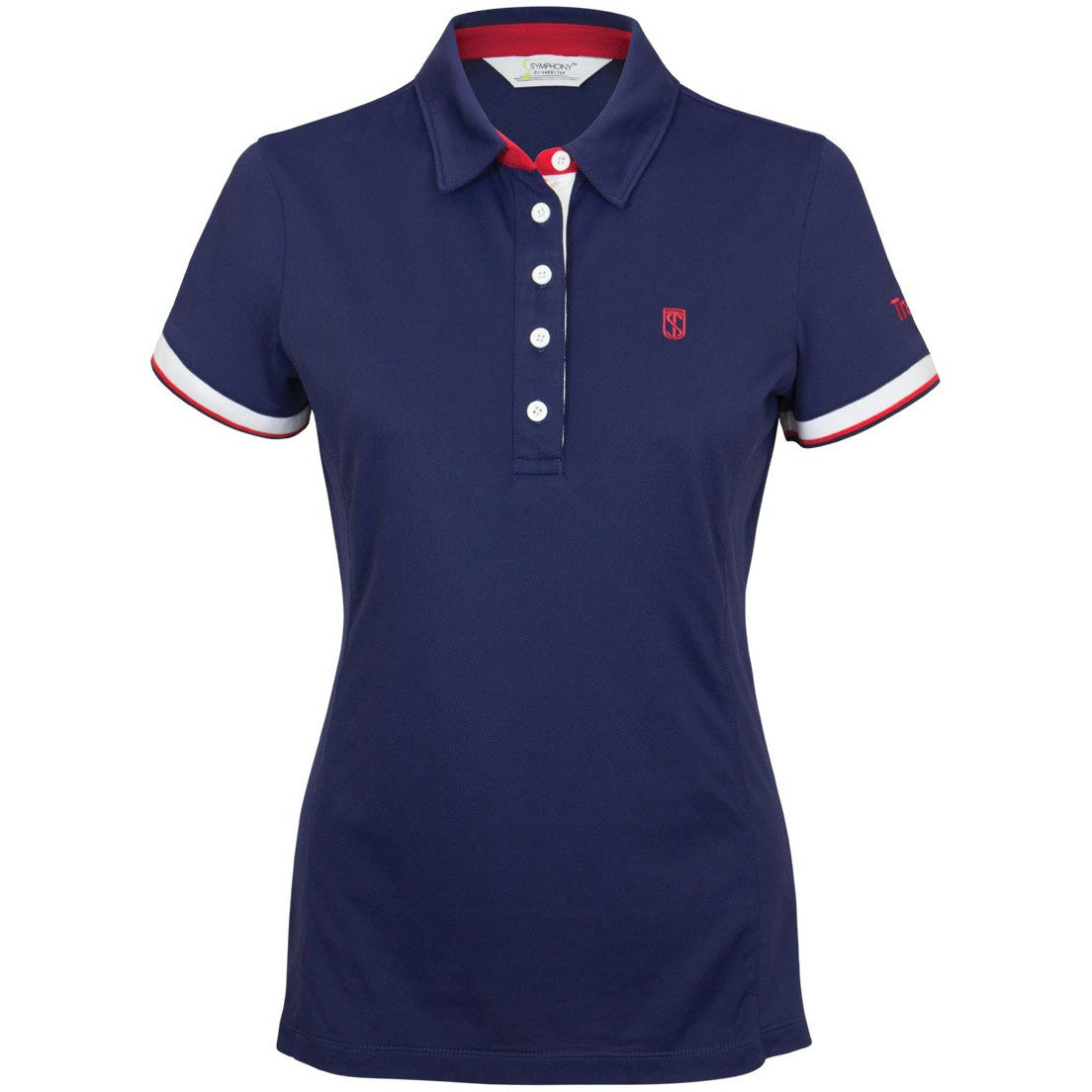 Tredstep Performance Womens T Shirt Polo Shirt Navy Red White All