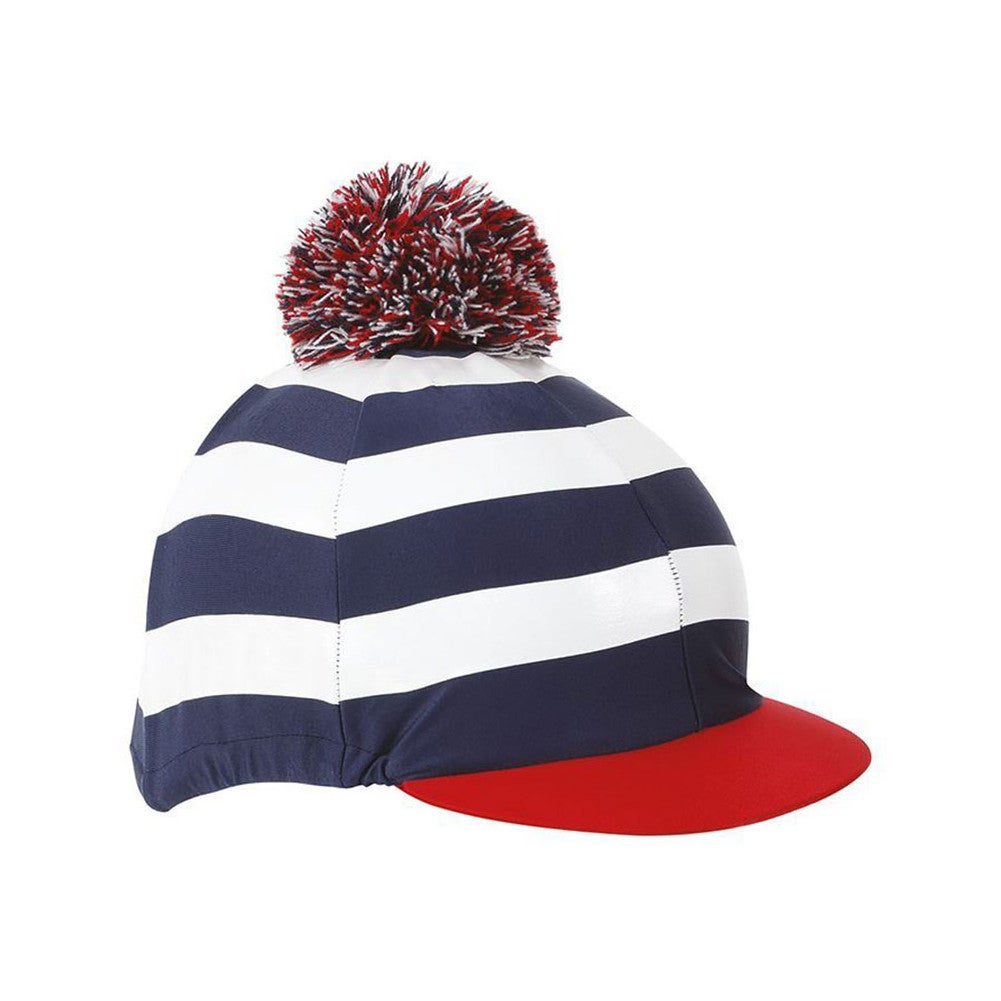 9372c9a5f6a Shires Pom With Stripes Unisex Safety Wear Hat Cover - Navy White ...
