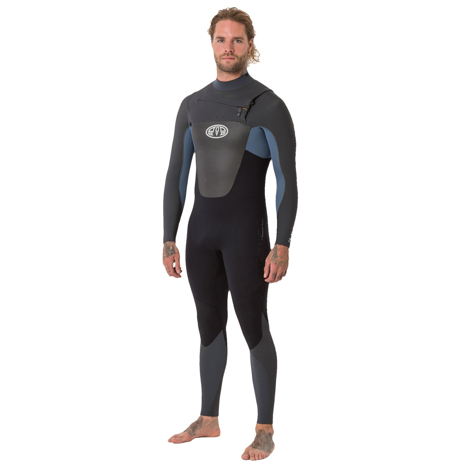 8dc5d252d07 Animal Lava 5 4 3mm Chest Zip Mens Surf Gear Wetsuit - Pewter Blue ...