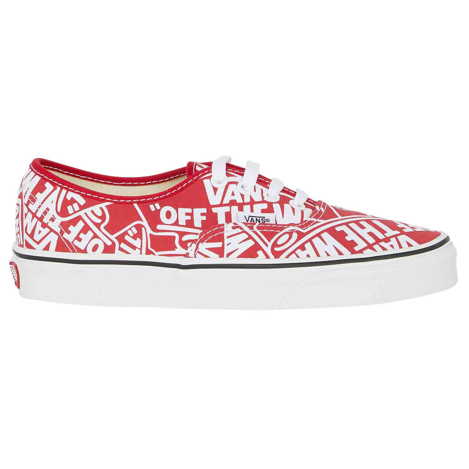 f384857018 Vans Authentic Off The Wall Repeat Unisex Footwear Shoe - Red True White