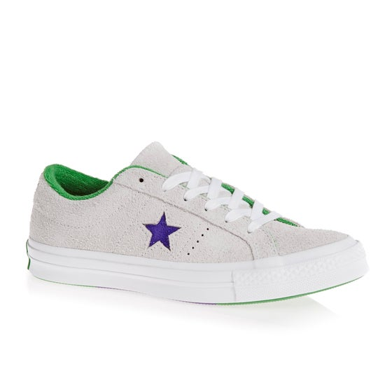 3f38f7279681a Chaussures Converse One Star Ox - White court Purple green