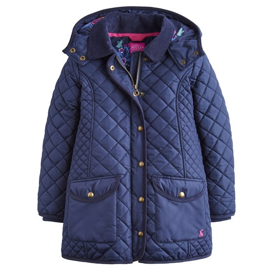a74a2ac6 Joules Newdale Hooded Quilted Girls Jacket - French Navy