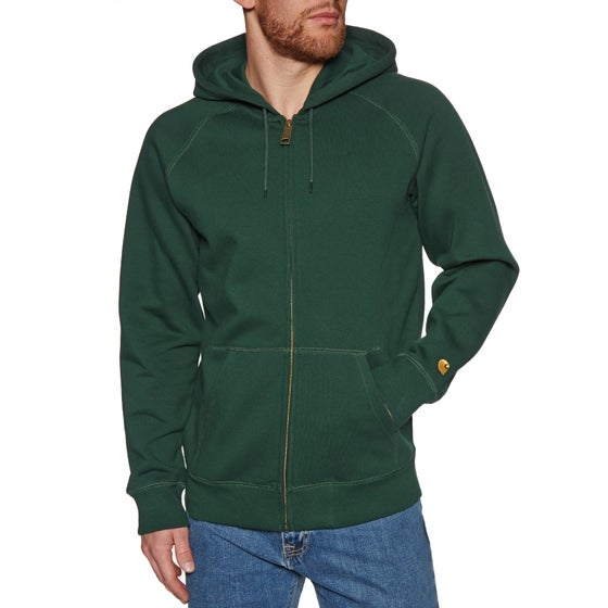 6f6b9f31d28 Carhartt WIP. Carhartt Hooded Chase Pullover Hoody - Bottle Green Gold