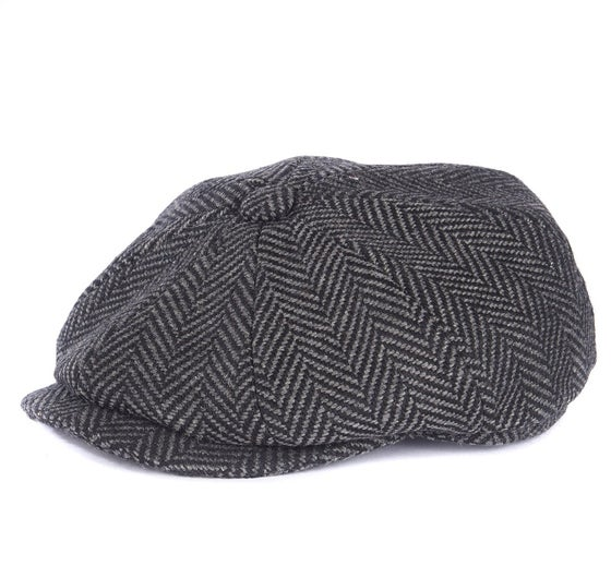 1fad6955919f5 Barbour Herringbone Tweed Bakerboy Men's Cap - Dark Grey
