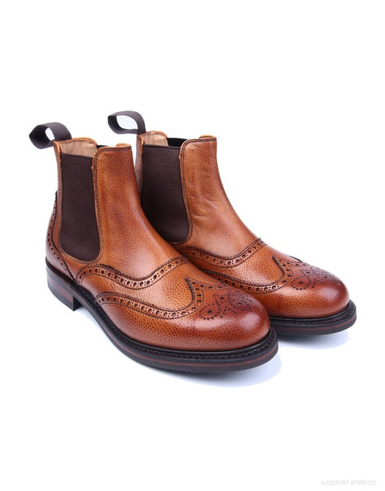 1c1ce0078f0968 Cheaney Made in England Victoria Brogue Chelsea Women's Boots - Mahogany  Grain