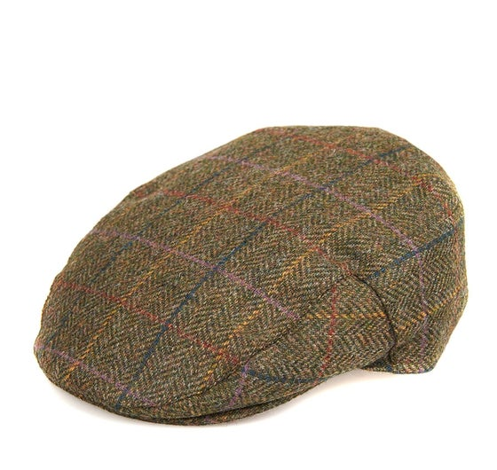 39355b32 Barbour Moons Tweed Flat Men's Cap - Olive Herringbone