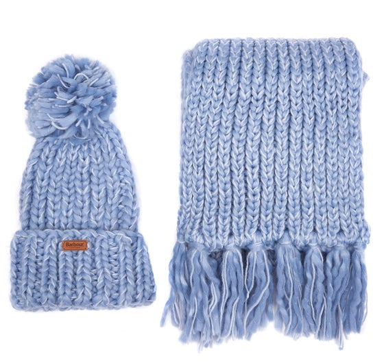 e0e050be1162e7 Barbour Gift Set of Chunky Knit Scarf and Women's Hat - Pale Blue