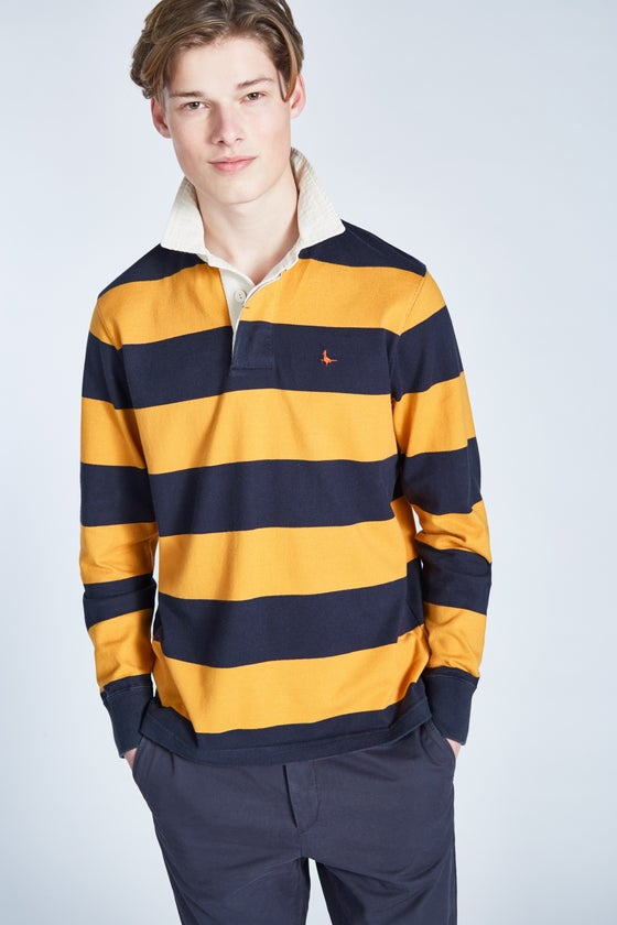71d6c9c4098 Jack Wills Camber Stripe Men's Polo Shirt - Navy Yellow