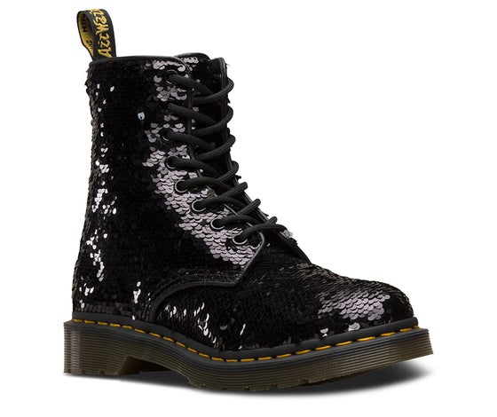 afd243b95a Dr Martens 1460 Pascal Sequin Women's Boots - Black Silver Shift Sequins  Black Hydro Leather