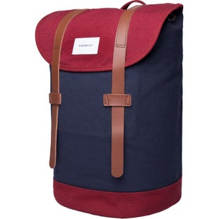 Sandqvist Stig Backpack - Multi Blue/ Burgundy