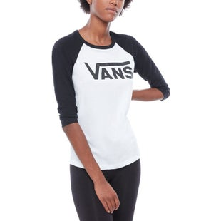 Vans Flying V Raglan Ladies LS T-Shirt - White Black