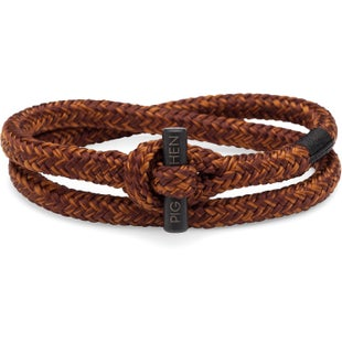 Pig and Hen Tiny Ted Bracelet - Brown Ochre Black