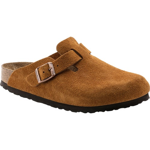 Birkenstock Boston Suede Soft Footbed Slip On Shoes - Mink