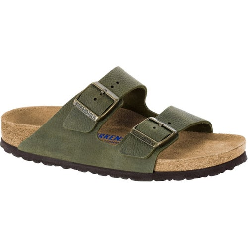 Birkenstock Arizona Nubuck Leather Soft Footbed Sandals - Steer Khaki