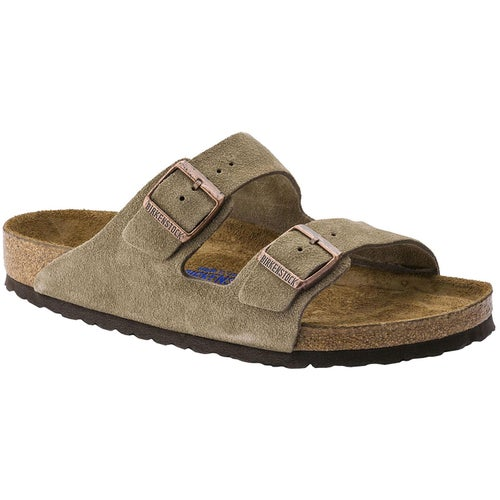 Birkenstock Arizona Suede Leather Soft Footbed Narrow Sandals - Taupe