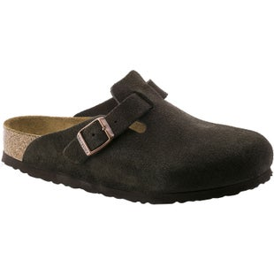 Birkenstock Boston Soft Footbed Suede Slip On Shoes - Mocca