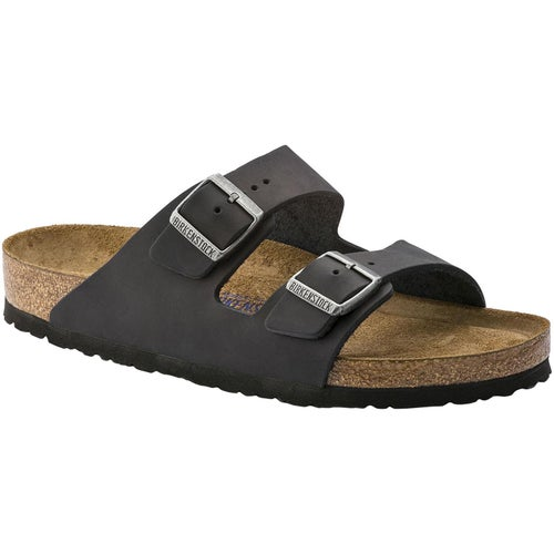 Birkenstock Arizona Oiled Leather Soft Footbed Narrow Sandals - Black