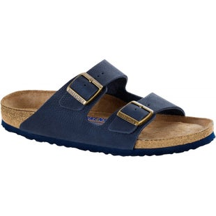 Birkenstock Arizona Soft Footbed Nubuck Leather Sandals - Steer Indigo