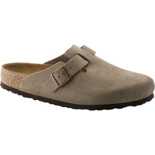 Birkenstock Boston Soft Footbed Suede Slip On Shoes - Taupe