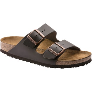 Birkenstock Arizona Smooth Nubuck Leather Sandals - Dark Brown