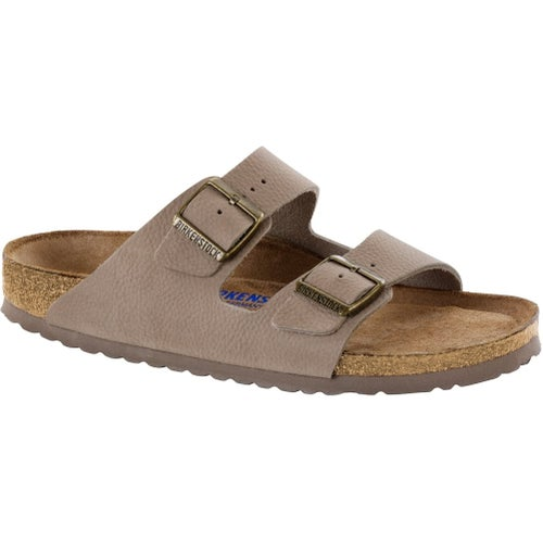 Birkenstock Arizona Nubuck Leather Soft Footbed Sandals - Steer Taupe