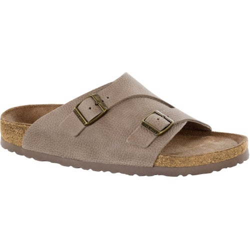 Birkenstock Zurich Soft Nubuck Leather Soft Footbed Sandals - Steer Taupe