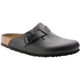 Birkenstock Boston Smooth Leather Slip On Shoes - Black