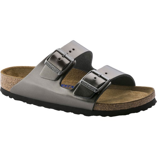 Birkenstock Arizona Leather Soft Footbed Narrow Sandals - Metallic Anthracite
