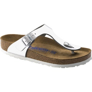 Birkenstock Gizeh Natural Leather Soft Footbed Ladies Sandals - Metallic Silver