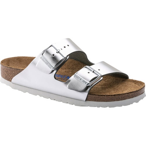Birkenstock Arizona Natural Leather Soft Footbed Sandals - Metallic Silver