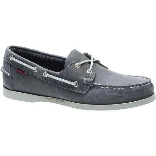 Sebago Dockside Portland Slip On Shoes - Dark Grey Waxed Leather