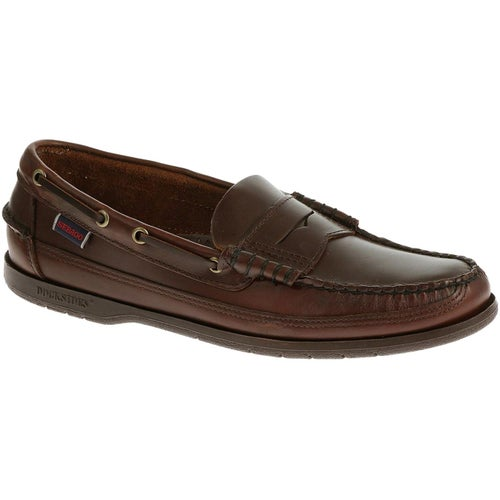 Sebago Sloop Slip On Shoes - Total Brown Brushed Leather