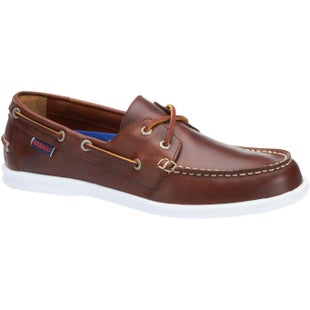 Sebago Litesides Two Eye Slip On Shoes - Brown Cinnamon Oiled Waxy Leather