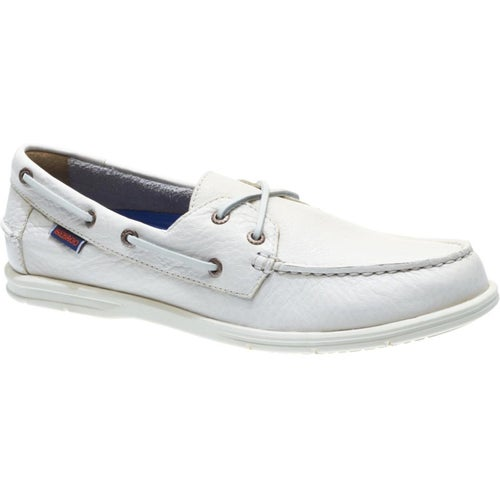 Sebago Litesides Two Eye Slip On Shoes - White Tumbled Leather