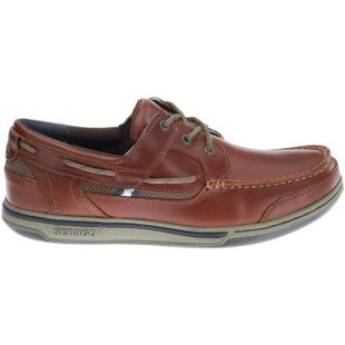 Sebago Triton Three Eye Slip On Shoes - Brown Cinnamon Brushed Leather