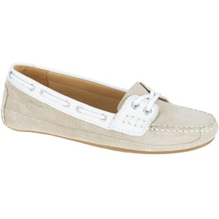 Sebago Bala Ladies Slip On Shoes - Beige Taupe Suede White Leather