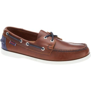 Sebago Spinnaker Slip On Shoes - Brown Cognac Navy Leather