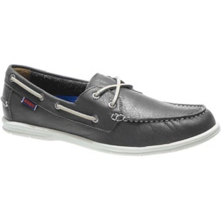 Sebago Litesides Two Eye Slip On Shoes - Dark Grey Tumbled Leather