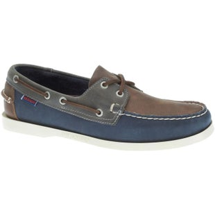Sebago Spinnaker Slip On Shoes - Brown Navy Grey Leather