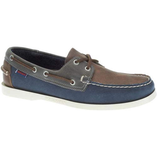 Sebago Spinnaker Shoes - Brown Navy Grey Leather