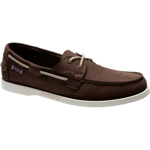 Sebago Dockside Portland Slip On Shoes - Dark Brown Nubuck