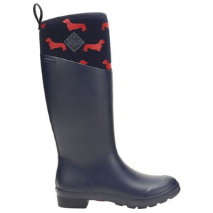 Muck Boots Tremont Tall Emily Bond Print Ladies Wellies - Navy Red Dogs