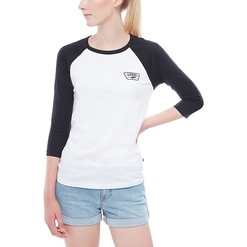 Vans Full Patch Raglan Ladies LS T-Shirt - White Black