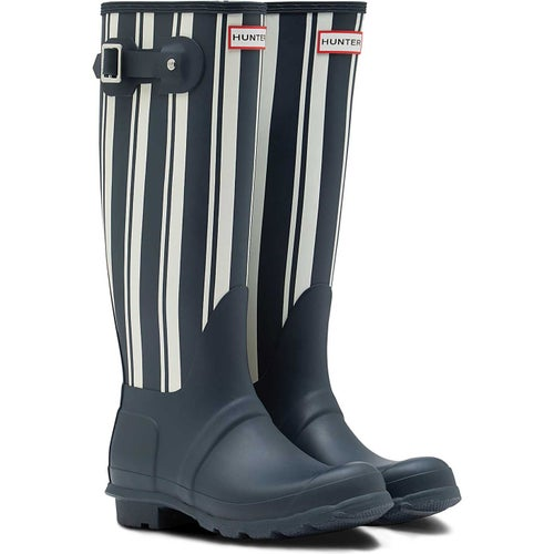 Hunter Original Garden Stripe Tall Ladies Wellies - Navy White