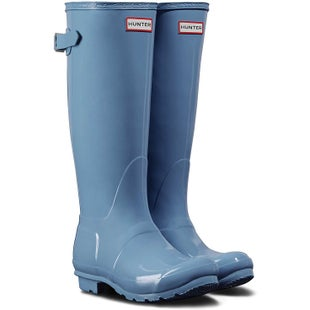 Hunter Original Back Adjustable Gloss Ladies Wellies - Forget Me Not