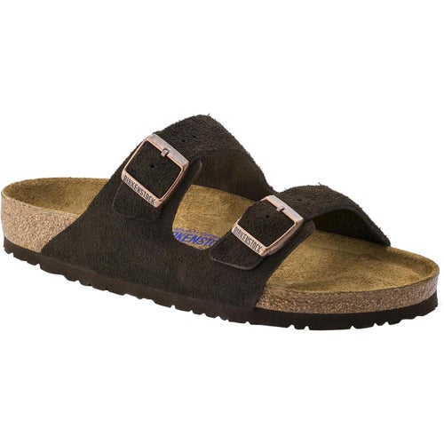 Birkenstock Arizona Suede Leather Soft Footbed Narrow Sandals - Mocca