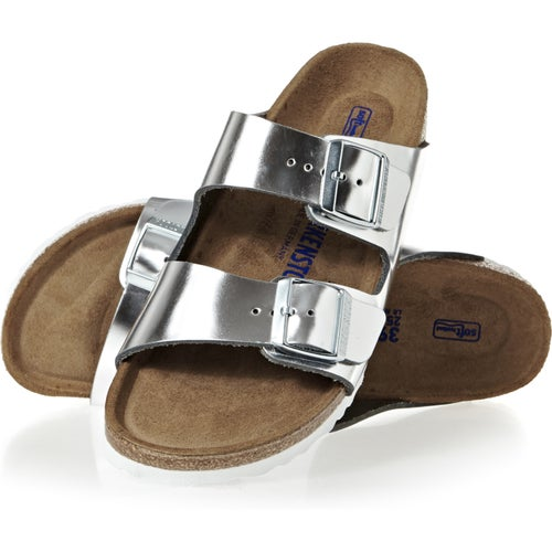 Birkenstock Arizona Leather Soft Footbed Narrow Sandals - Metallic Silver