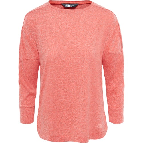 North Face Inlux Three Quarter Ladies LS T-Shirt - Fire Brick Red Heather